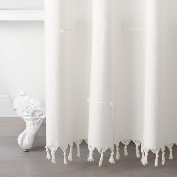 HEARTH & HAND stitch knottd fringe shower  curtain